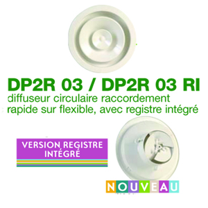 Diffuseur circulaire avec registre intégré
