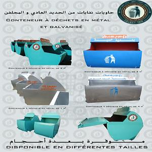 Conteneur à déchets en métal et galvanisé