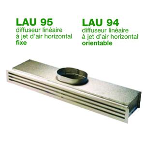 Diffuseur linéaire à jet d'air horizontal orientable ou fixe