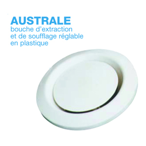 Bouche d'extraction et de soufflage réglable en plastique