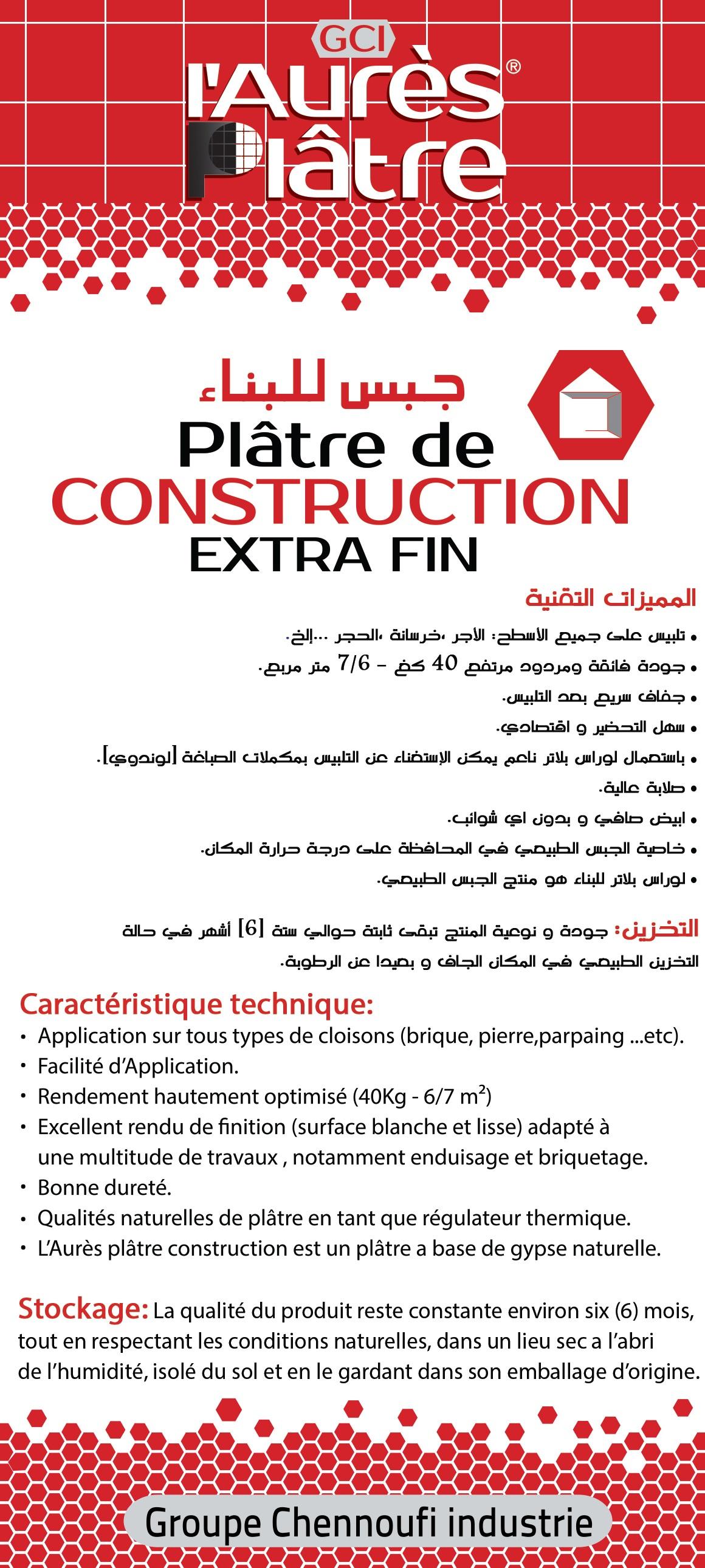 Platre De Construction Extra Fin