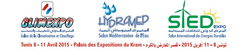 3 salons = une manifestation: CLIMEXPO, HYDROMED et SIED du 8 au 11 Avril 2015, au Parc des Expositions du Kram,